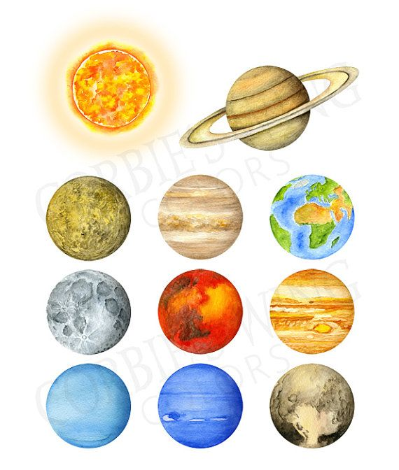570x672 Watercolor Solar System, Planets, Universe. Home Decor, Wall Art