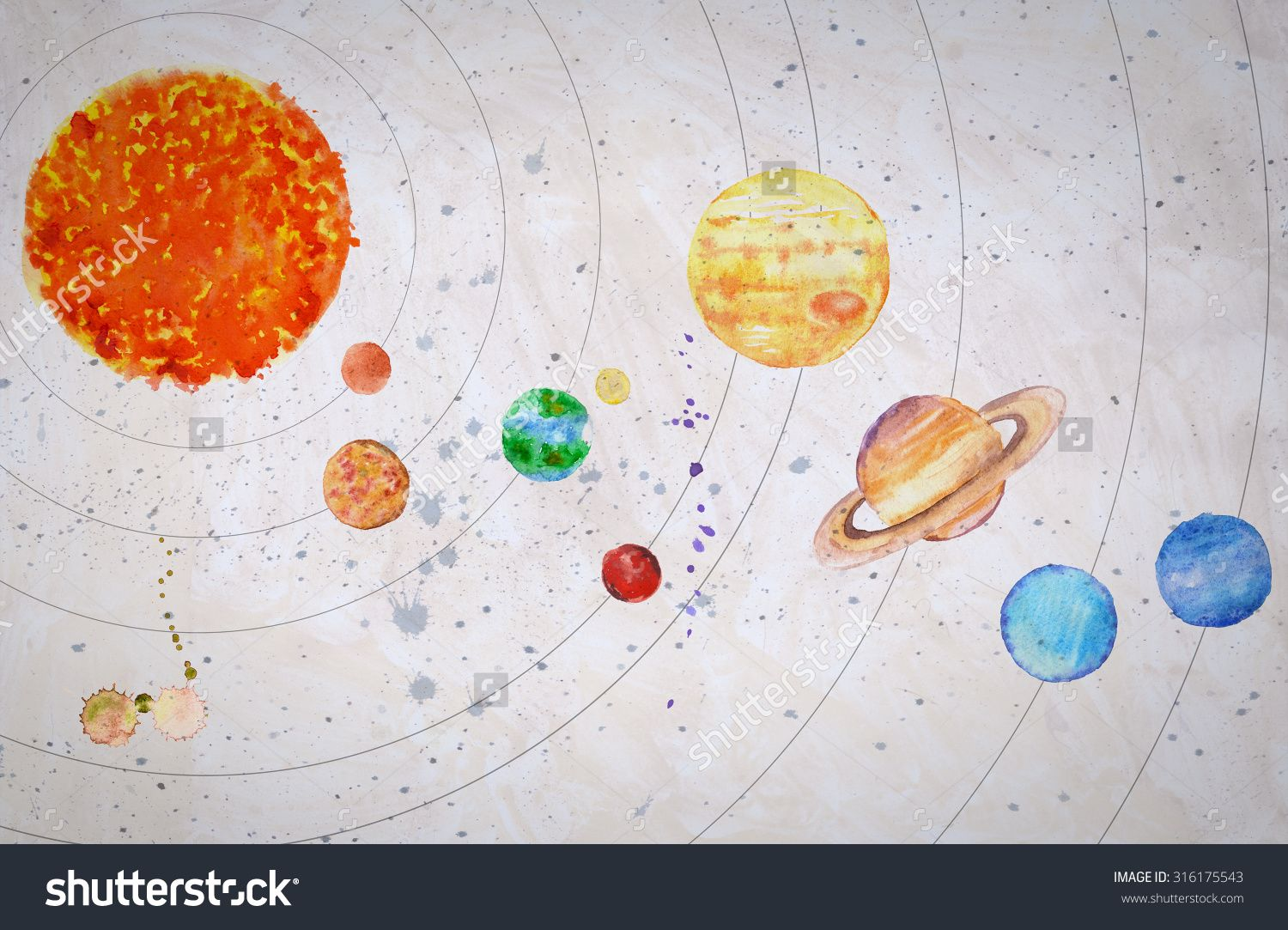 1500x1083 Stock Photo Watercolor Solar System Sun And Planets Mercury Venus