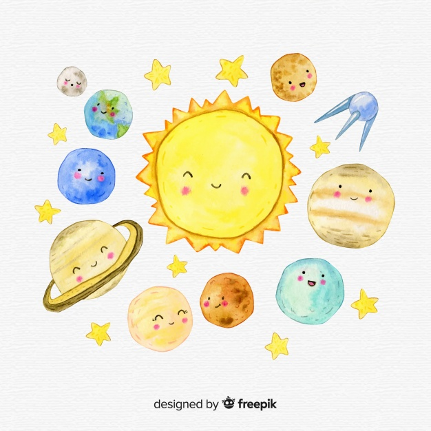 626x626 Lovely Watercolor Solar System Composition Vector Free Download