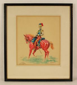 273x300 Eugene Pechaubes (French, 1890 1967) Soldier Watercolor Print