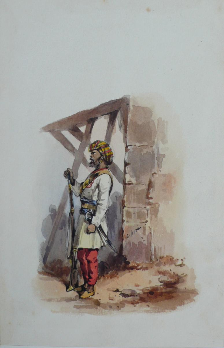 775x1200 Indian Soldier Watercolour By A. ()
