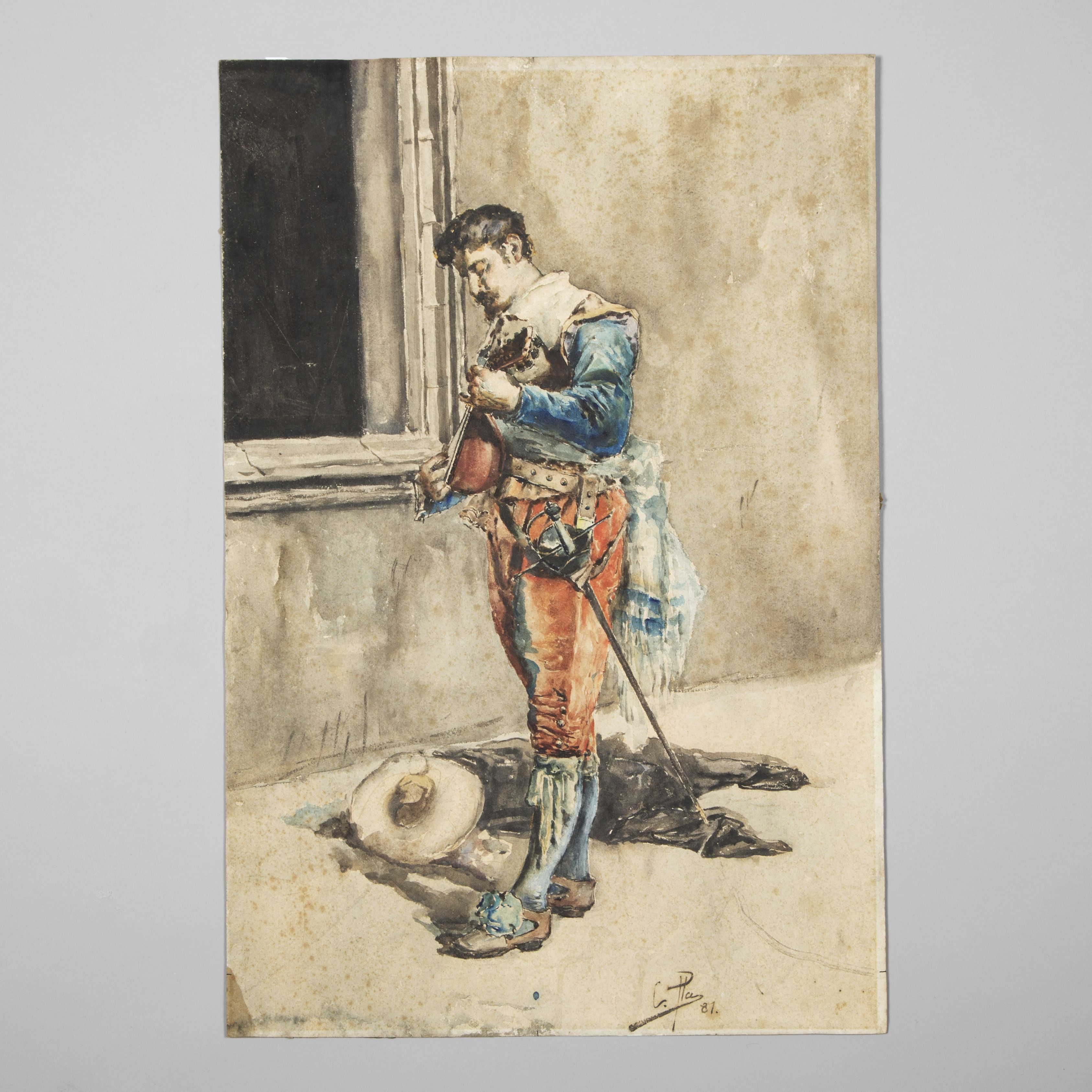 3372x3372 Late 19th Century School. Soldier Playing The Mandolin, Watercolor