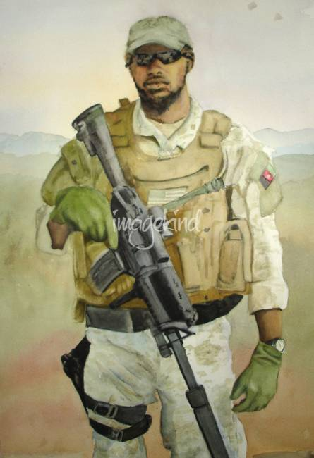 445x650 Modern Day Soldier Watercolor Painting By Kerra Lindsey