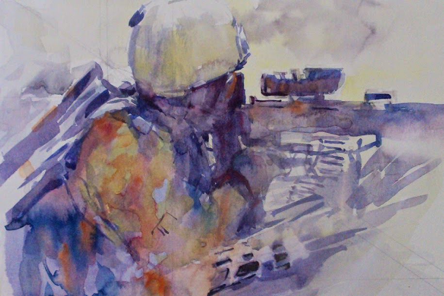 915x610 Nicola Dalbenzio American Soldier Watercolor, Men And Women In