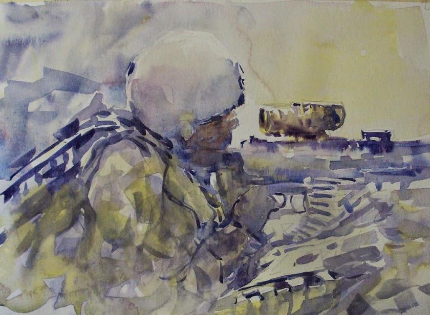 840x616 Nicola Dalbenzio American Soldier Watercolor 2 Infantry Combat