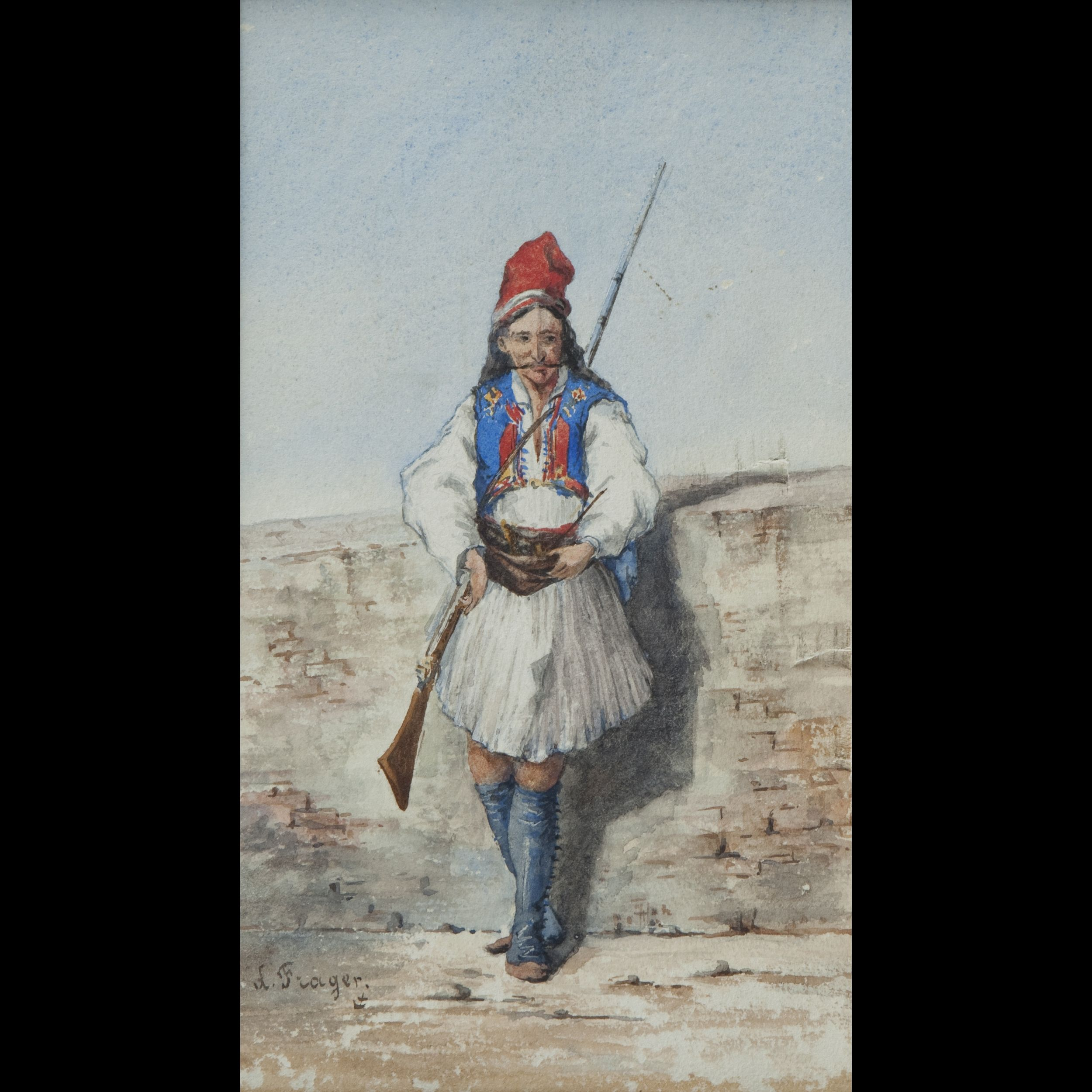 2500x2500 19th Century School. Greek Soldier, Watercolor