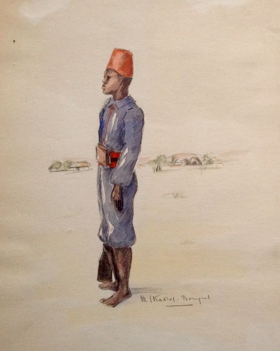 559x700 Orientalismwatercolor, A Young, North African Soldier, Barefoot