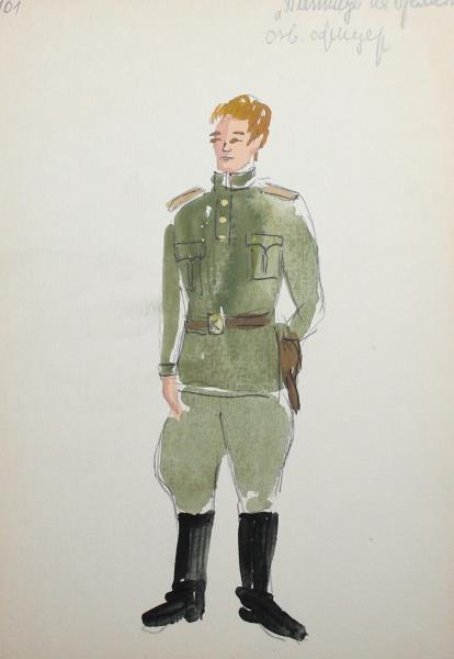 414x600 Vintage Watercolor Painting Theatre Costume Design Military