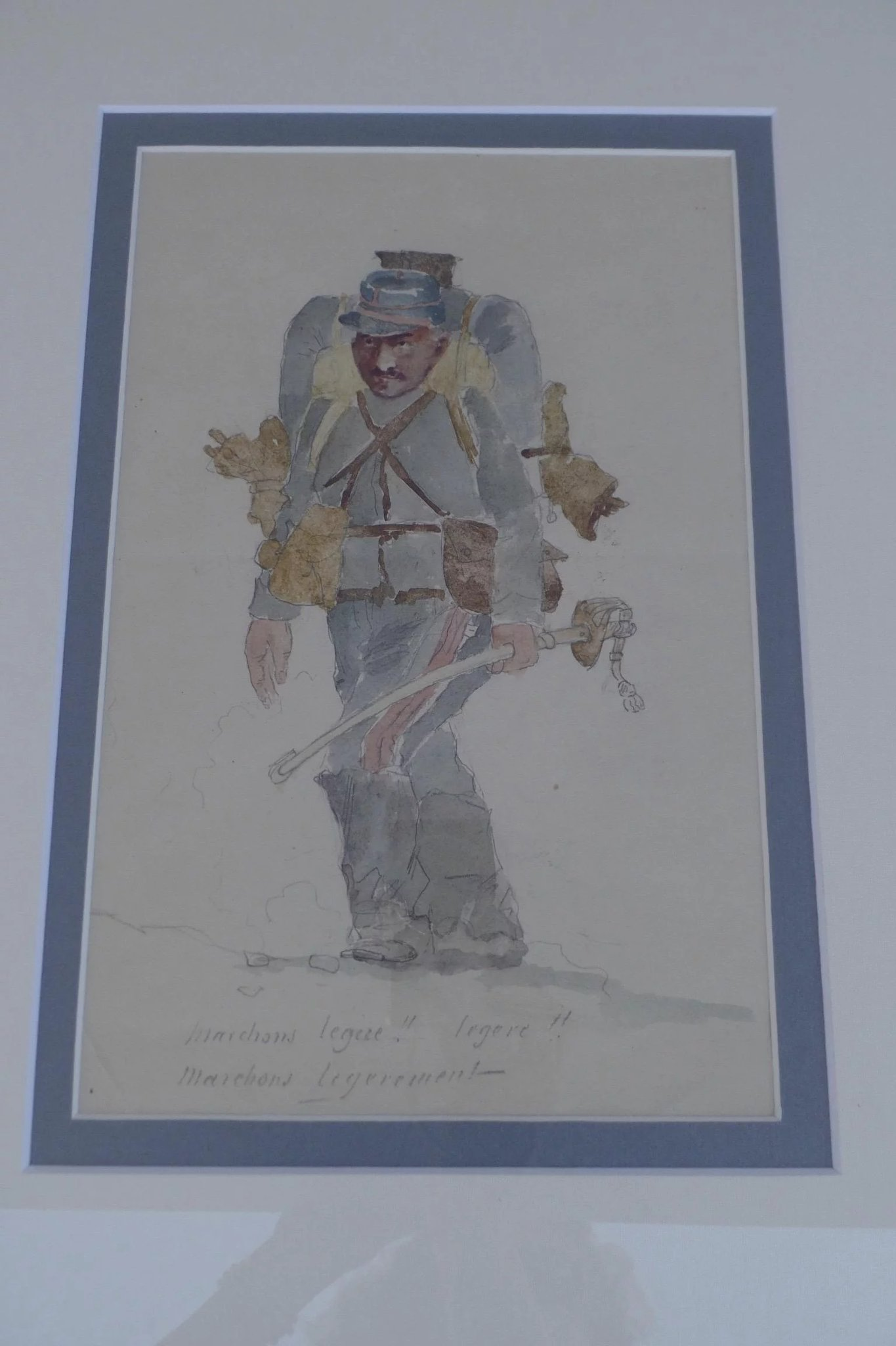 1365x2048 Ww I French Soldier Watercolor Framed Black Tulip Antiques, Ltd