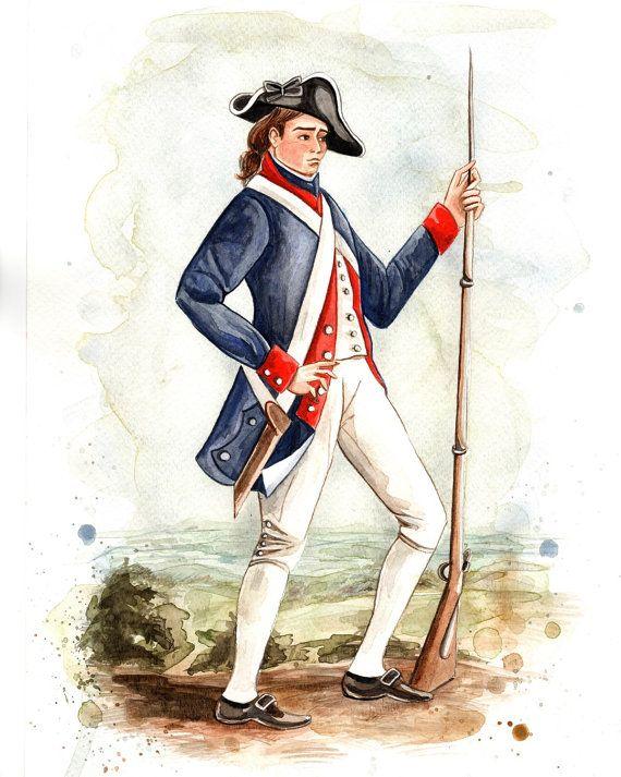 570x713 American Revolution Patriot Soldier Watercolor Print Americana