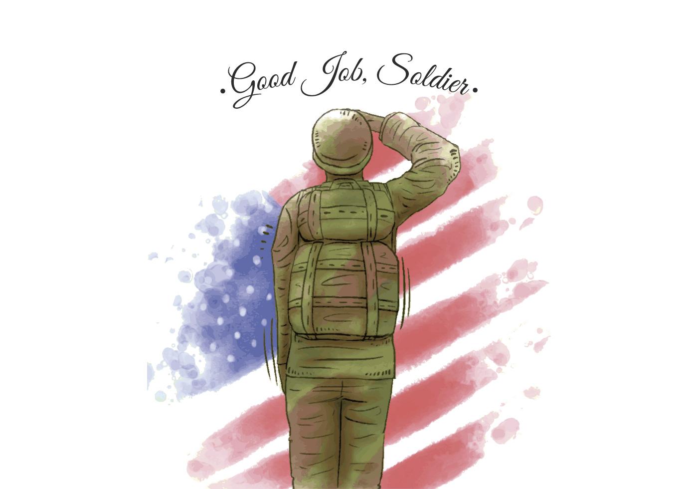 1400x980 Watercolor American Flag And Veteran American Soldier