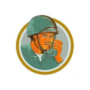 300x300 American Soldier Serviceman Calling Radio Watercolor Digital Art