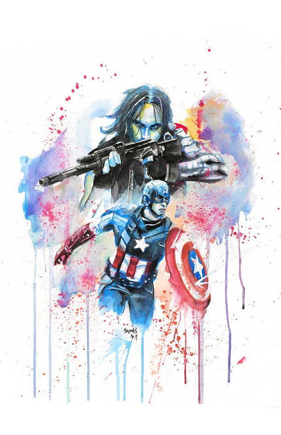570x881 Captain America And The Winter Soldier Watercolor Print Captain