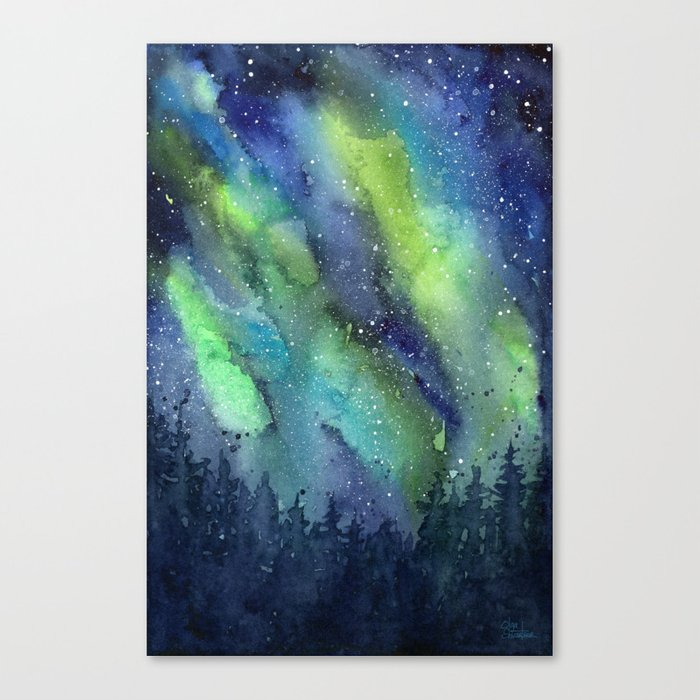 700x700 Galaxy Aurora Northern Lights Nebula Space Watercolor Canvas Print