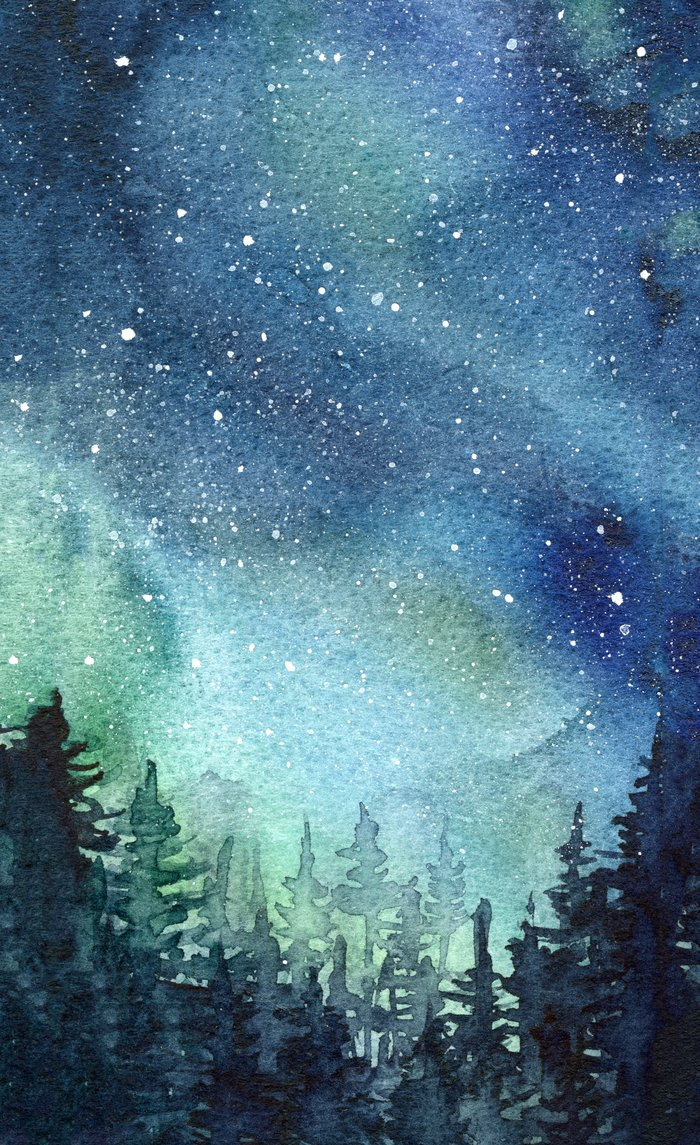700x1145 Galaxy Watercolor Space Night Sky Nebula Painting Aurora Window