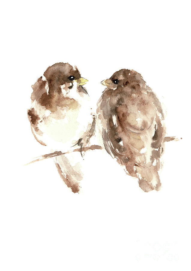 636x900 Sparrows Watercolor Prints, Animal Home Decor Paintings, Brown