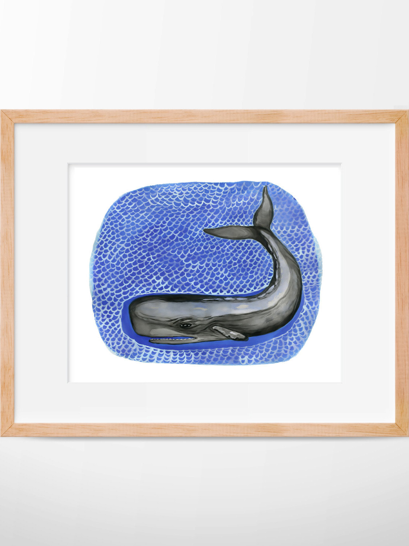 1125x1500 Sperm Whale Print, Whale Illustration, Whale Art, Nautical Print