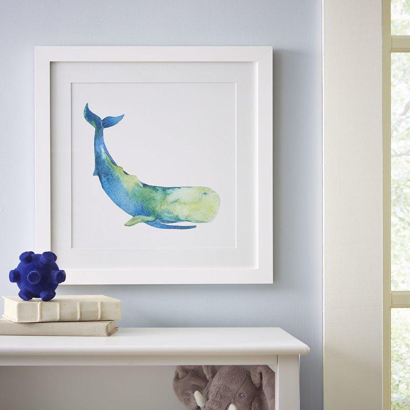 800x800 Birch Lane Sperm Whale Watercolor Sea Mammals Framed Print