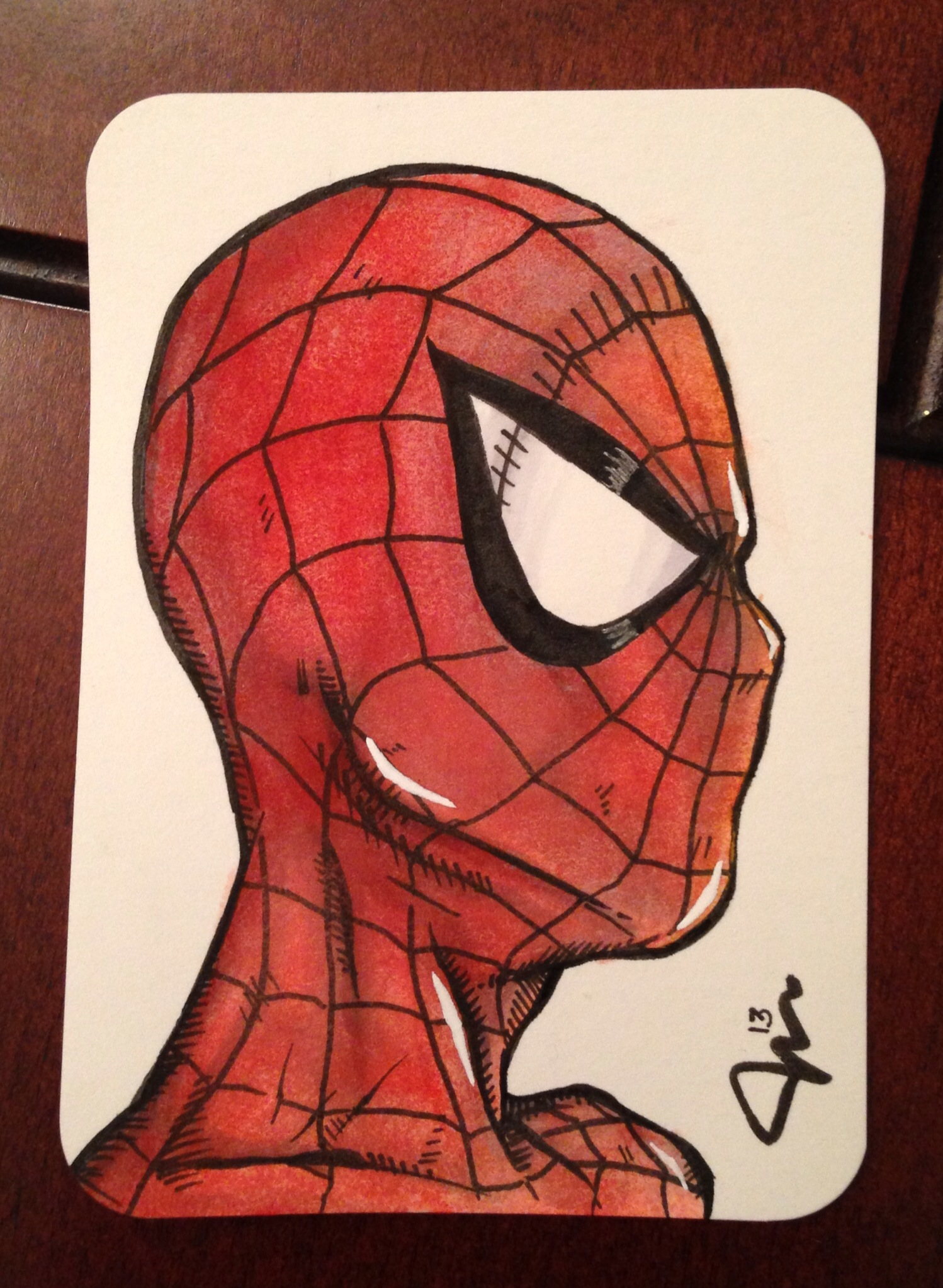 1498x2047 Spiderman Aceo Card In Watercolor, Ink Amp Marker (2.5 X 3.5) Art