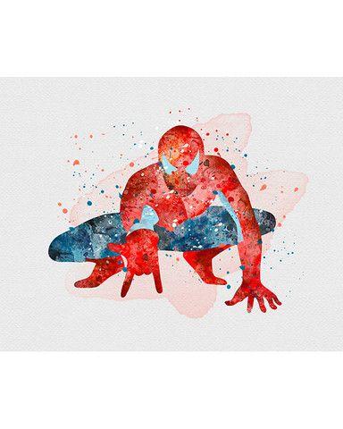 384x480 Spiderman Watercolor Art Print Art Print Illustrations