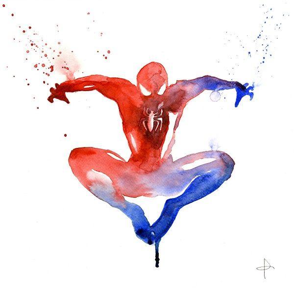 600x600 Superhero Watercolor Art Prints Spider Man