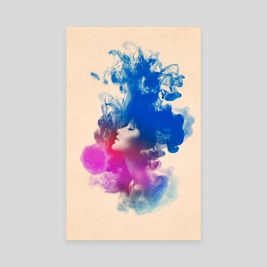 540x540 Psychedelic Ink Splash Watercolor Girl Portrait, An Art Canvas By