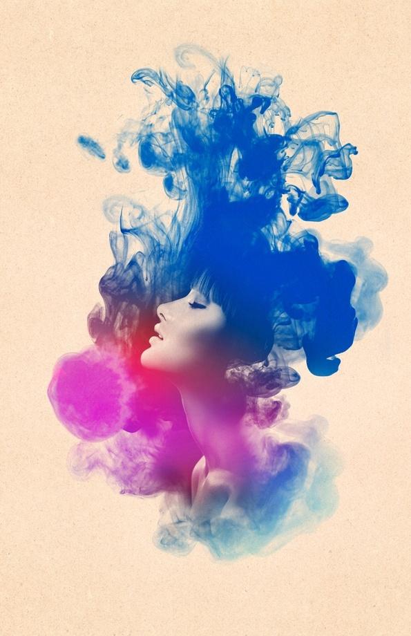 595x920 Psychedelic Ink Splash Watercolor Girl Portrait, An Art Print By