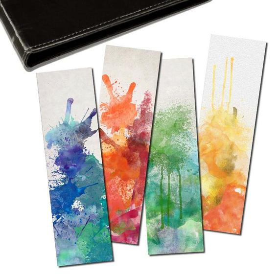 570x570 Watercolor Splash Bookmarks Set Of 4 Digital Printable Etsy