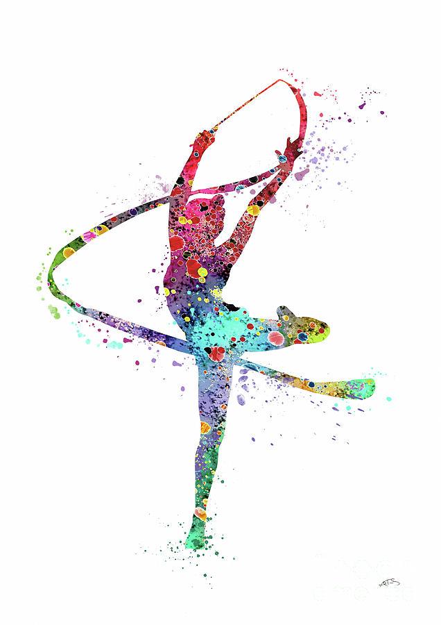 636x900 Rhythmic Gymnastics Print Sports Print Watercolor Print Dancer