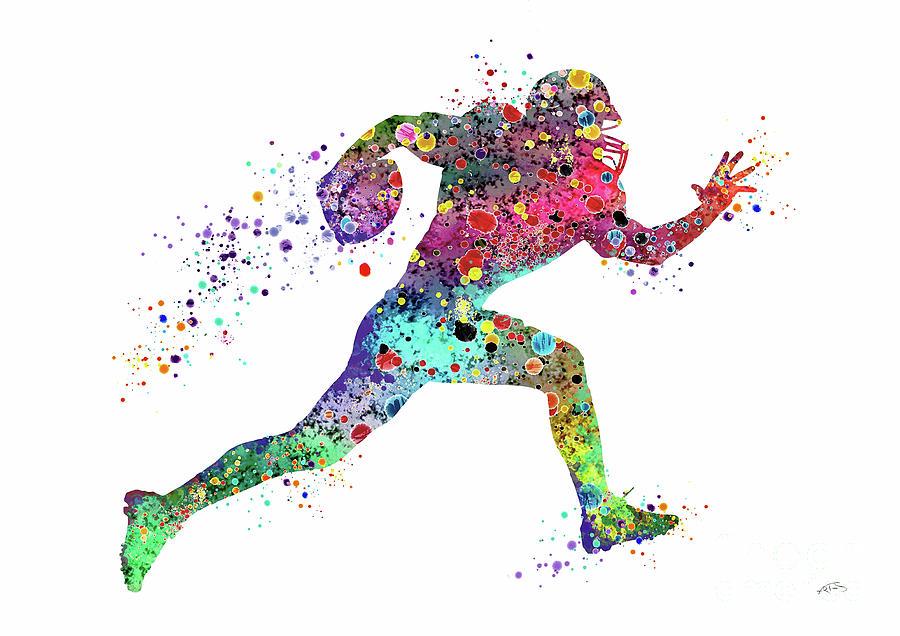 900x636 Football Player Sports Art Print Watercolor Print American
