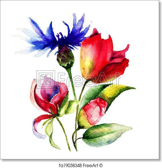 561x581 Free Art Print Of Original Spring Flowers. Original Spring Flowers