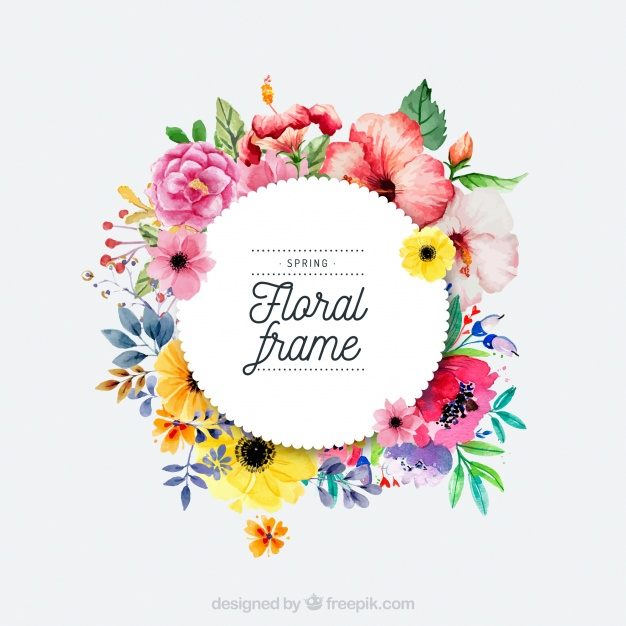 626x626 Watercolor Spring Floral Frame Vector Free Download