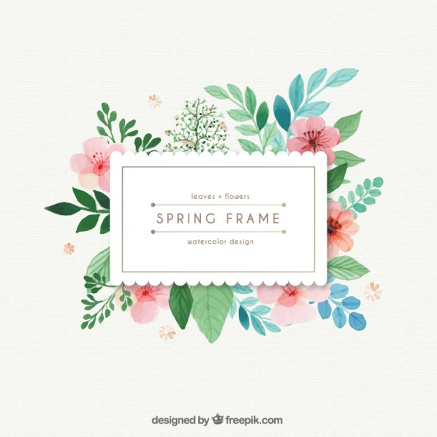 626x626 Watercolor Spring Frame With Leaves And Flowers Vector Free Download