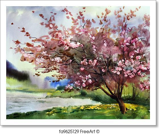 560x470 Free Art Print Of Watercolor Painting Landscape With Blooming