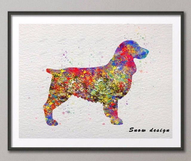 640x539 Original Springer Spaniel Dog Watercolor Canvas Painting Dog Wall