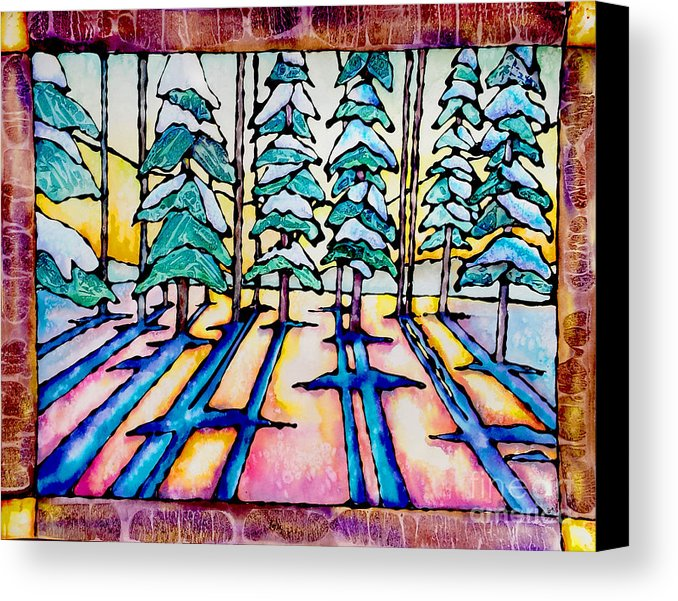 678x601 Stained Glass Watercolor Winter Pine Trees Canvas Print Canvas