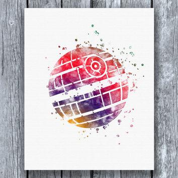 354x354 Death Star Star Wars Watercolor Art Print From Allartprints