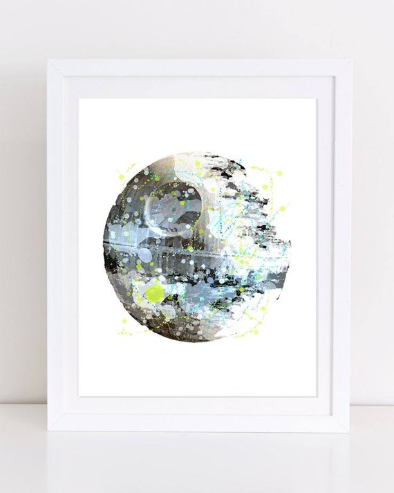 570x713 Death Star Watercolor Print Star Wars Poster Death Star Poster Etsy