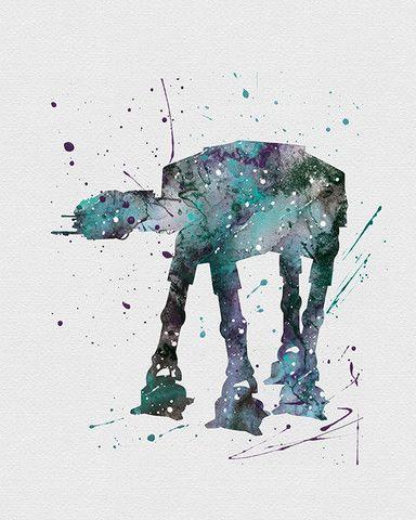 384x480 At At Walker Star Wars Watercolor Art Star Wars