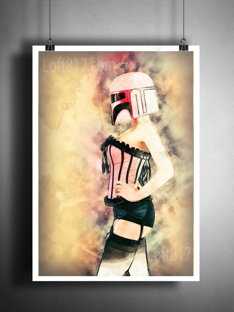 768x1024 Star Wars Pinup Girl, Boba Fett Pinup Art, Star Wars Watercolor