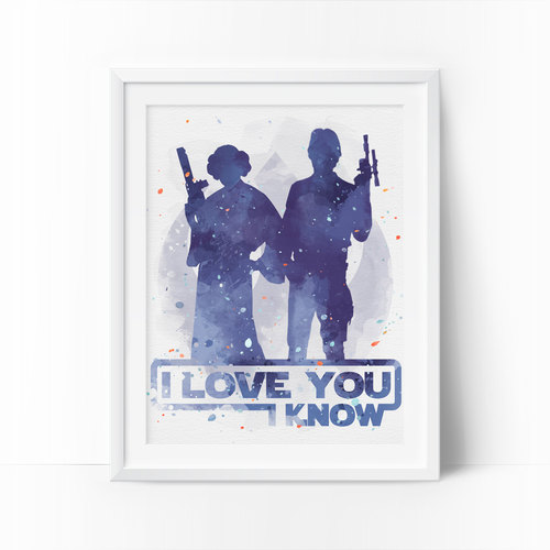 500x500 I Love You I Know, Star Wars Art, Star Wars Watercolor, Han Solo