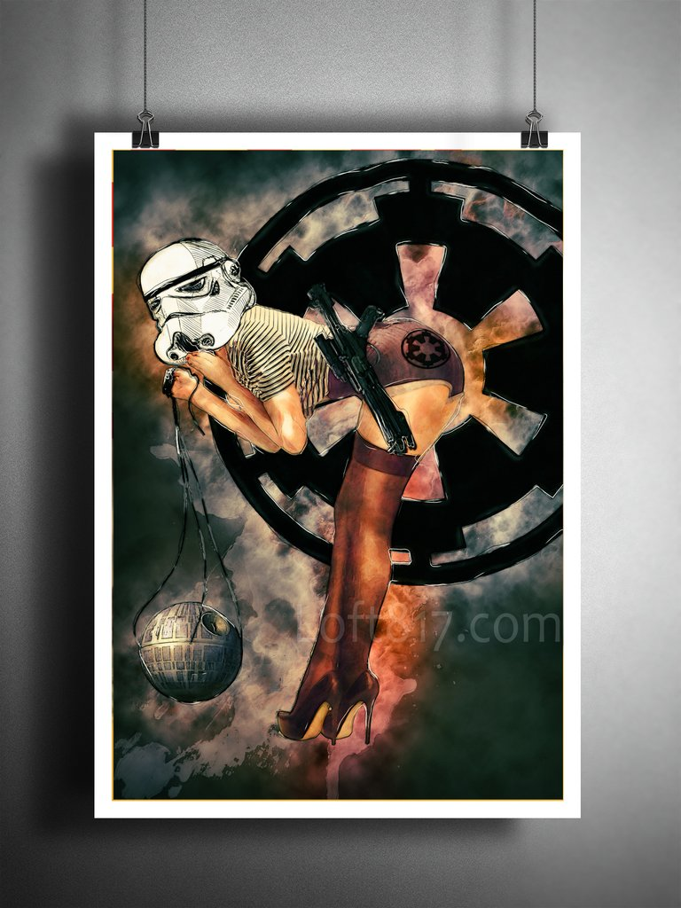 768x1024 Star Wars Pinup Girl, Pinup Girl Storm Trooper With Death Star