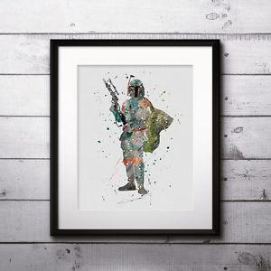 300x300 Boba Fett Watercolor Print, Star Wars Poster, Poster, Painting