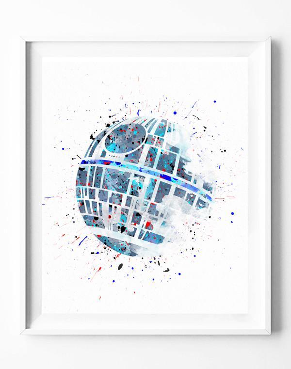600x761 Star Wars Death Star Poster Art Print Watercolor Painting Wall Art