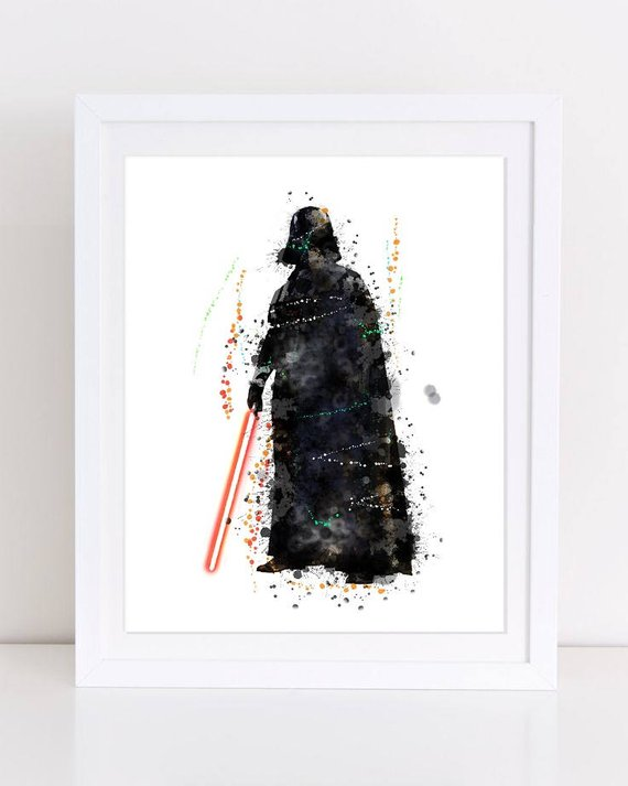 570x713 70% Dh Vader Poster Watercolor Poster Star Wars Watercolor Etsy