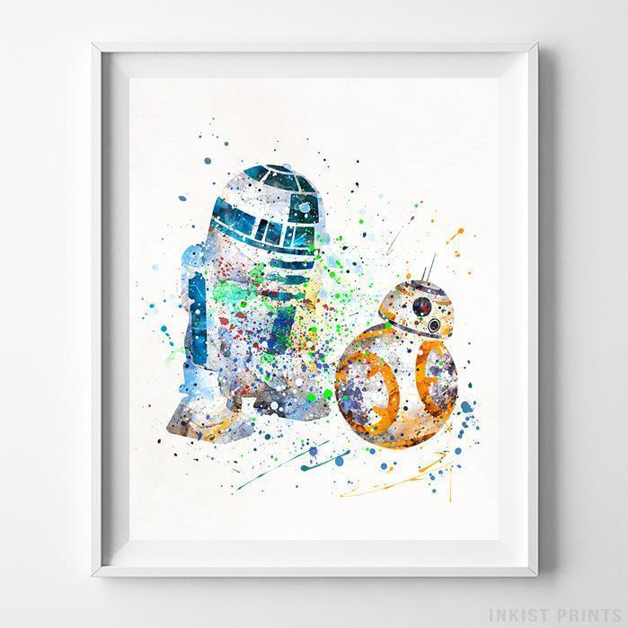 699x699 Bb8 And R2d2 Star Wars Wall Art Watercolor Poster Dorm Wall Decor