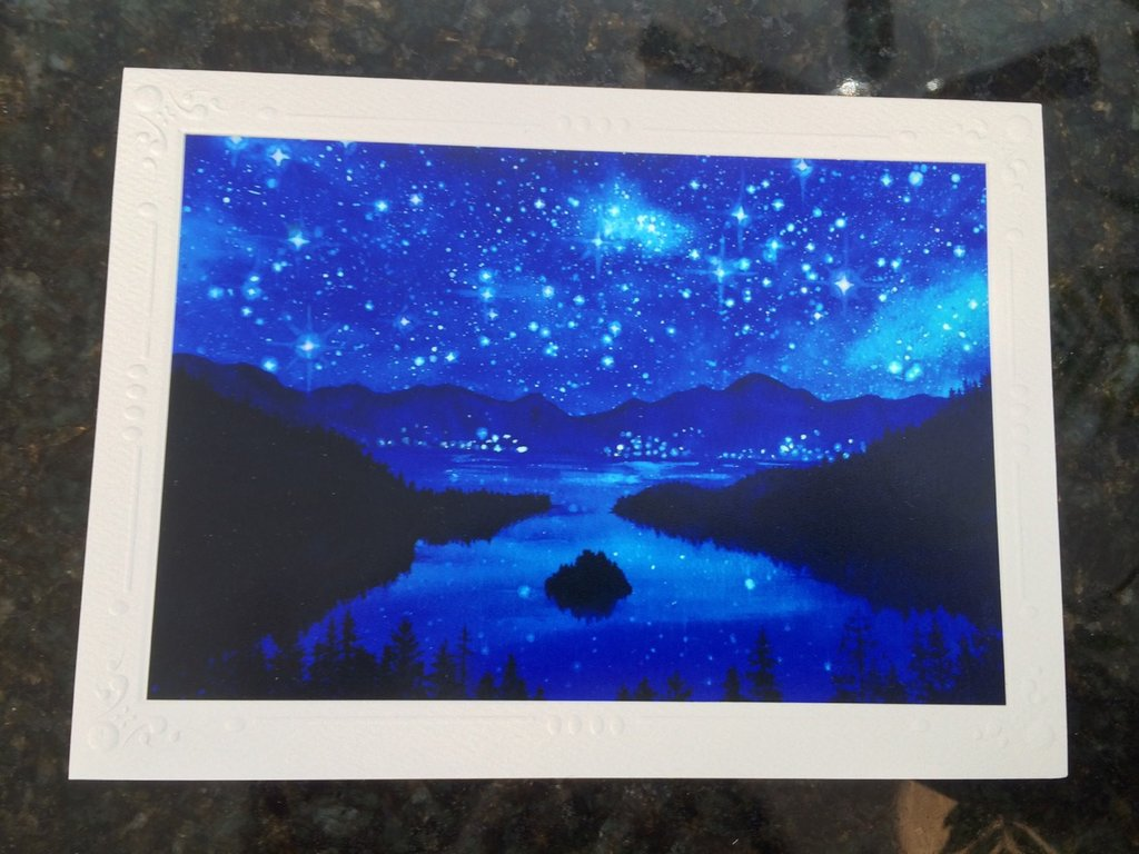 1024x768 Set Of 5 Emerald Bay Lake Tahoe Starry Night Watercolor Art Print