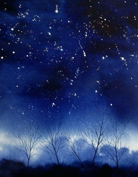 480x616 Starry Night Watercolor Abstract Starry Night Sky And Black Forest