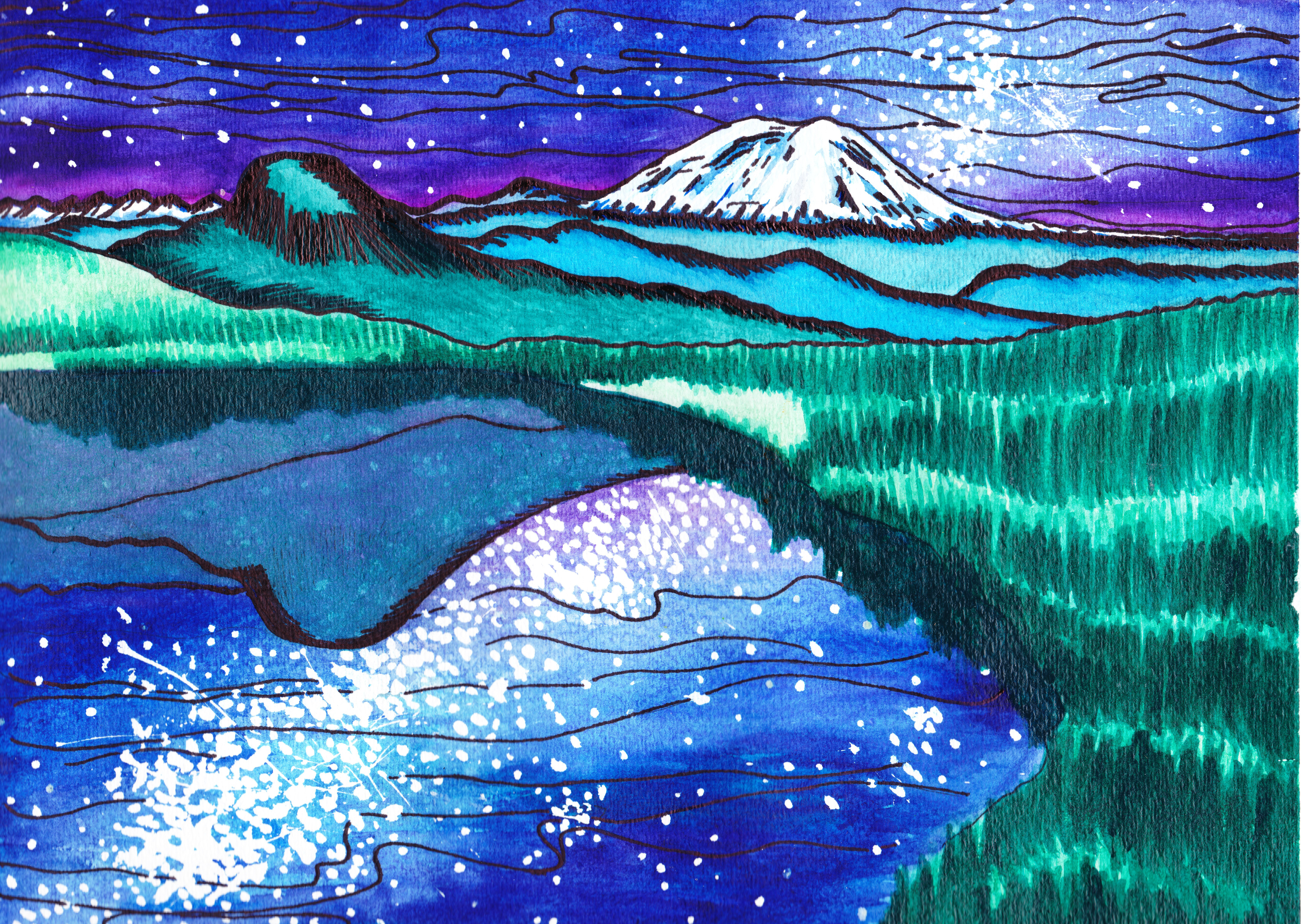 6848x4864 Summit Lake Starry Night, Watercolor Tamarascameras