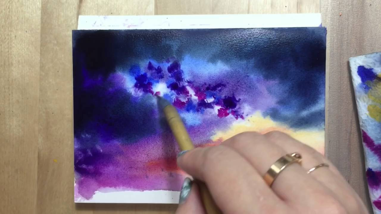 1280x720 Watercolor Starry Night Sky Demonstration